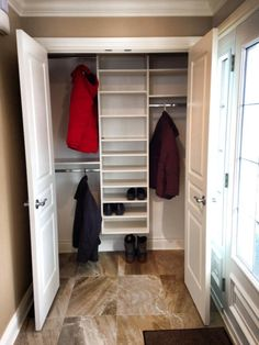 New Ideas Front Hallway Closet Organization Entrance Front Hall Closet, Hallway Closet, Front Hallway, Front Entry, Entrance Foyer, Coat Closet Organization, Closet Storage, Spare Bedroom Closets, Closet Layout