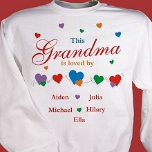 #GrandparentsDay Is Loved By Personalized Grandma Sweatshirts. Show off your kids or grandkids with our personalized shirt design for Grandma, Nana, Mom and even Auntie. A heartwarming sweatshirt sure to fill her heart with joy, love and happiness on Grandparents Day, Mother's Day or at any special event. Your Personalized Love Sweatshirt for Mom or Grandma is available on our premium white cotton/poly blend Sweatshirt, machine washable in adult sizes S-3XL.