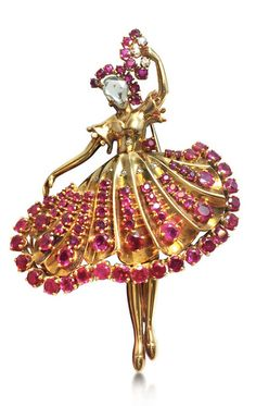 A ruby and diamond ballerina brooch, attributed to John Rubel