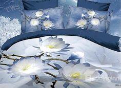 $ 98.59 New Arrival 100% Cotton Simple but Elegant Flower 4 Piece Bedding Sets/Duvet Cover Sets
