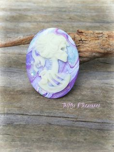 Glow in the Dark Polymer Clay Lolita Lady Cameo Brooch~Purple Marbled by TNTPatterns on Etsy