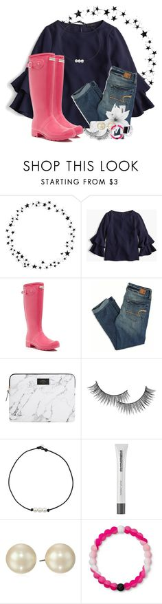 """""""Raining a lot 💧💧"""" by preppypuffpuff on Polyvore featuring Camp, J.Crew, Hunter, American Eagle Outfitters, Forever 21, Dermalogica, Carolee, Lokai and Apple"""