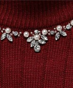 Beading around a sweater neckline nice pattern of pearls with crystals. Pearl Embroidery, Bead Embroidery Patterns, Hand Work Embroidery, Couture Embroidery, Bead Embroidery Jewelry, Embroidery Fashion, Hand Embroidery Designs, Sewing Patterns, Motifs Perler