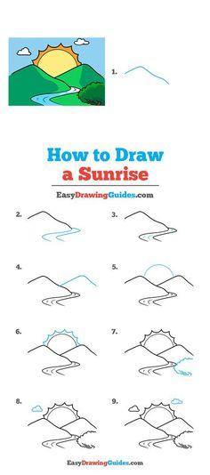 Landscape Drawing Tutorial, Landscape Drawings, Drawing Tutorials For Kids, Drawing Ideas, Sunset Song, Sunrise Drawing, Sunrise Landscape, Popular Cartoons, Coloring Tutorial