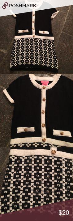 Isaac Mizrahi Sweater Dress 3T B/W sweater dress, gold buttons, adorable! Like new! Isaac Mizrahi Dresses