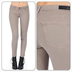 """AG The Legging Skinny Jeans Sulfur-Moca super skinny in gently washed taupe/features: Classic 5-pocket styling/tonal stitching and dark hardware/zip-fly with button closure/8.5 oz cozy stretch twill/55% cotton/42% tencel/3"""" PU/front rise: 7.5"""" approx/knee: 13.5"""" approx/bottom opening: 10.5""""/inseam: 31""""/machine wash cold/new with tags/thanks for looking                                                                   ❌No Trades❌                                                         ❌No…"""
