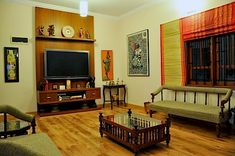"""Aalayam – Colors, Cuisines and Cultures Inspired!: Artist feature and a home tou… Aalayam – Colors, Cuisines and Cultures Inspired!: Artist feature and a home tour – """"Traditional Indian with a dash of Kitsch"""" unit decor Indian Living Room Sofa, Indian Home Decor, Home N Decor, Indian Living Rooms, Room Swing, Indian Homes, Pallet Furniture Living Room, Indian Interiors, Living Room Tv"""
