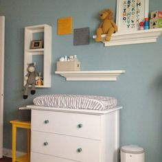 Gender Neutral Baby Room - I like the shelving...only in a natural wood finish. Oak or something.