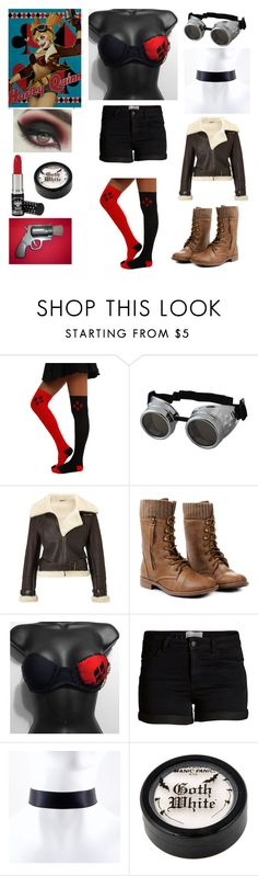 """Harley Quinn - DC Bombshells- Cosplay"" by shadow-cheshire ❤ liked on Polyvore featuring Retrò, Dlux, Pieces and Manic Panic"