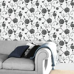 The Gilt Rose Charcoal Textured Wallcovering from Crown harks back to the striking beauty of Art Nouveau. The Mackintosh inspired trailing rose is embellished with stunning gold and sparkling glitter. Variety of colours and co-ordinating designs available from The Range Online from £12.99 per 10m roll.