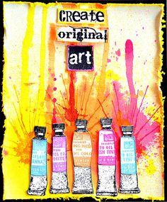 Card by Belinda Spencer using Darkroom Door Paint Tubes Eclectic Stamp, Paint Splats, Alphabet Medley and Artist Rubber Stamp Sets.