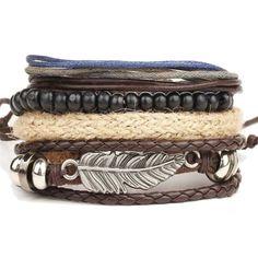 1 Set//6pcs En Cuir Bracelet Hommes Multicouche Punk Braid Wrap Bracelets /& Bracelets