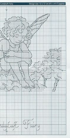 Cross stitch - fairies: Candytuft fairy - Cicely Mary Barker - close-up segment (chart - part 2)