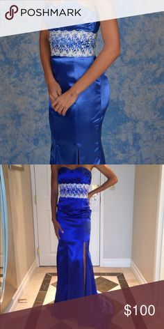 Evening gown Gorgeous royal blue fit and flare mermaid gown with side split. Lace and sequence band design on waist. Dresses Prom