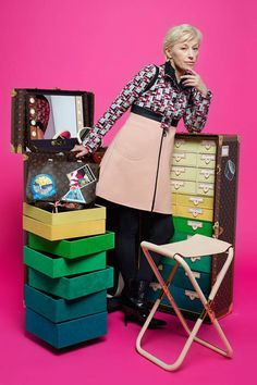 Cindy Sherman & Louis Vuitton camera messenger and studio in a trunk, price upon request, dress, price upon request, boots