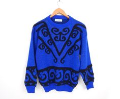 Vintage 80s Sparkly Oversized Women's Sweater - Medium - Royal Blue and Black Curlicue Curly Q Patterned Baggy Knit Jumper