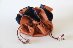 Modern jewelry travel organizer. Small gifts. Mother's Day gifts. Brown & midnight blue bag.