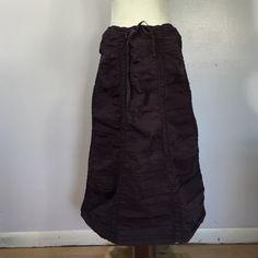 "XCVI Steampunk Cotton Drawstring Skirt- Lge Amazing cotton/ spandex blend skirt with elasticized vertical bands & ruching! Drawstring waist. Length is 28 1/2"". Like new XCVI Skirts Midi"