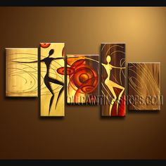 Primitive Contemporary Wall Art Artist Oil Painting Stretched Ready To Hang Figure. This 5 panels canvas wall art is hand painted by Bo Yi Art Studio, instock - $165. To see more, visit OilPaintingShops.com