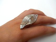 bague argent feuille repercée/ tree leaf silver ring