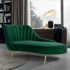 Meridian Furniture Margo Green Curved velvet fabric chaise w/ gold legs Lean back and lounge in Living Room Sofa Design, Living Room Decor, Funky Furniture, Furniture Design, Furniture Dolly, Furniture Market, Lounge Furniture, Bedroom Furniture, Velvet Chaise Lounge