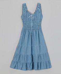 Another great find on #zulily! Denim Shirred Dress - Toddler & Girls by Chillipop #zulilyfinds
