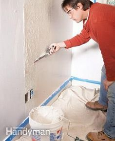 Smooth over rough or damaged walls with a skim coat of mud, applied with a special squeegee knife. It's easy to do and delivers great results. Home Improvement Projects, Home Projects, Home Renovation, Home Remodeling, Bathroom Remodeling, Drywall Repair, Plaster Repair, Drywall Mud, Fixing Drywall