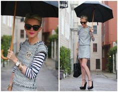 Chanel in the rain by Atlantic-Pacific: Tweed top & skirt: Alice+Olivia. Stripe Top: Madewell. Shoes: Theysken's Theory.