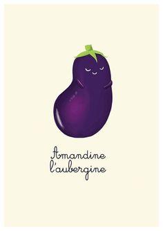 eggplant art print // Lovely vegetables series by lesjouesgrises, $13.00