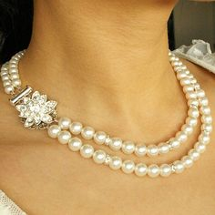 Vintage Style Bridal Jewelry Wedding Necklace Pearl by luxedeluxe, $89.00