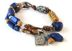 African  trade beads, lapis and leather bracelet from TamJan Designz