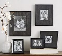 Designed to float a photo slightly raised over a weathered-wood panel, the Cason Frames have a handsome, rustic look. Family Room Walls, Family Wall, Hanging Picture Frames, Hanging Pictures, Gallery Wall Frames, Gallery Walls, 6 Photos, Wall Photos, Weathered Wood