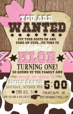 Cowgirl Birthday Invitation Cowgirl Party Invite Cowgirl Party