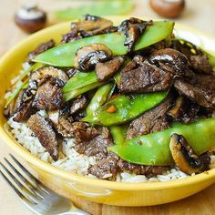 Asian Beef with Mushrooms & Snow Peas