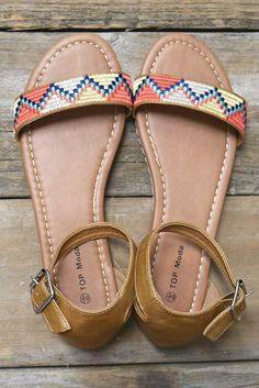 Pasadena Camel Tribal Print Flat Sandals