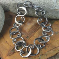 oxidized hammered link bracelet sterling silver by industria, $94.00