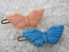 vintage barrette soft pink and blue butterfly by rosebudcottage, $10.00