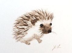 Original Watercolor Painting hedgehog by ColorOfChlorophyll