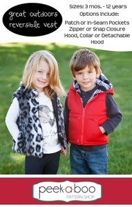 Its time to do some exploring in the Great Outdoors Reversible Vest! The perfect layer to keep little boys and girls warm and cozy on all their adventures.Options Include:- Hood, Collar, or Collar with Detachable Hood- Patch or In-Seam Pockets- Zipper or Snap Closure- Puffy/Quilted or Standard- Zipper Guard to protect little chinsPattern comes with a full tutorial and color photos in an easy to print PDF. Pattern pieces are computer generated and color coded for easy cutting. New to sewing