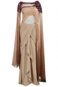 Gold embroidered textured saree available only at Pernia's Pop Up Shop. Indian Gowns Dresses, Prom Dresses With Sleeves, Indian Fashion Dresses, Indian Designer Outfits, Unique Dresses, Stylish Dresses, Indian Outfits, Fashion Outfits, Designer Dresses
