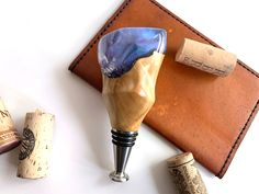 Hand made bottle stopper made from stabilized box elder wood and color shift resin blank. Bottle Stoppers, Houston, Resin, Box, Handmade, Color, Snare Drum, Hand Made, Colour