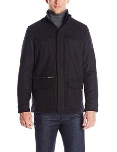 Calvin Klein Men's Basic Wool 4 -Pocket Jacket, Charcoal, Large Calvin Klein ++You can get best price to buy this with big discount just for you.++
