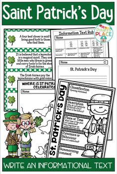 St Patrick's Day Informational Text - This pack provides information about St Patrick's Day. This information will assist in the writing of your own Informational Text about St Patrick's Day guided by a rubric. Word Wall and KWHL - for St Patrick's Day. Teaching Reading Strategies, Writing Strategies, Teaching Activities, Writing Resources, Teaching Writing, Teaching Resources, Primary Teaching, Writing Posters, Writing Genres