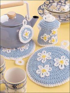 Crochet for the Home - Crochet Potholder Patterns - Daisy Kitchen Set - Easy Crochet Pattern
