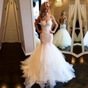Sexy Mermaid/Trumpet Straps Lace Wedding Dress Bridal Gown