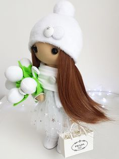 Doll Christmas new year Winter snowy holiday doll Handmade soft fabric christmas toys Textile interior doll home decor Christmas Toys, Christmas And New Year, Christmas Ornaments, Doll Home, Handmade Items, Handmade Gifts, Fabric Dolls, Girl Gifts, Soft Fabrics