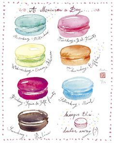 A macaron a day - 8 X 10 limited edition print No 16/50 - Food art - The kitchen collection. $25.00   Gina?