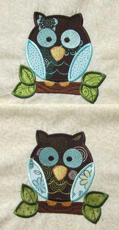 Pair of Adorable Appliqued Owl Quilt Blocks. $12.00, via Etsy.