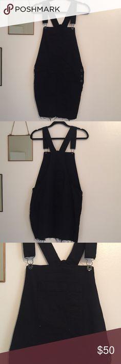 Lucky Brand overall dress Black size medium Lucky Brand overall Jean dress Lucky Brand Dresses