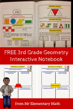 Free 3rd grade geometry interactive notebook from Mr Elementary Math.  Aligns to the 3rd grade Common Core standards.